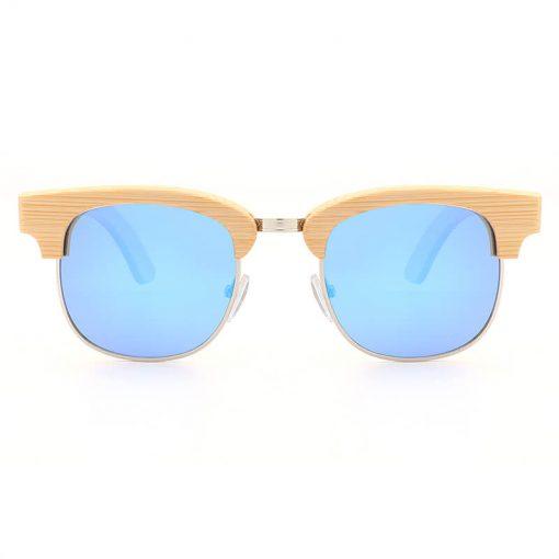 Fashion Bamboo Half Frame Polarized Wayfarer Sunglasses Unisex blue 2