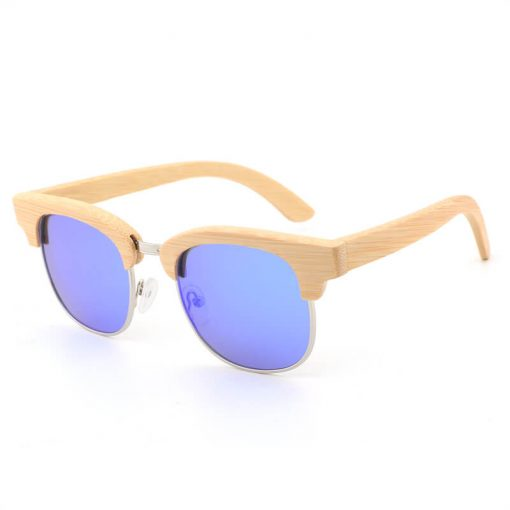 Fashion Bamboo Half Frame Polarized Wayfarer Sunglasses Unisex