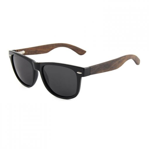 Wood Frame Polarized Wayfarer Sunglasses for Women Men