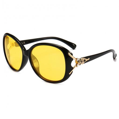 Women HD Polarized Night Vision Driving Glasses Black Oval Oversize Driving Glasses